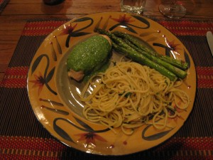 Pesto Covered Sauteed Organic Chicken Breast