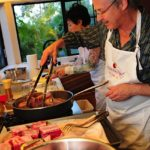 Steve Hochberg braises the beef ribs for the main course of Comfort Food