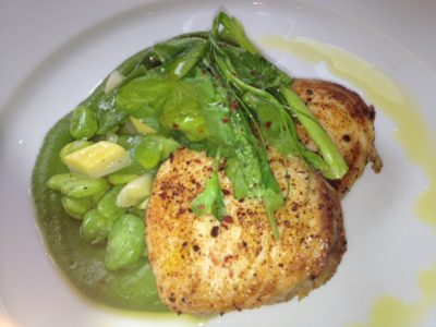 Wahoo with Spring Vegetables