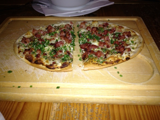 Flammkuchen with bacon and chives
