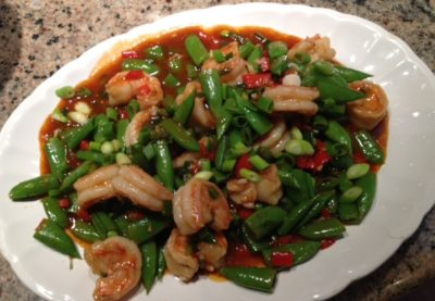 Szechwan Shrimp with Sugar Snap Peas