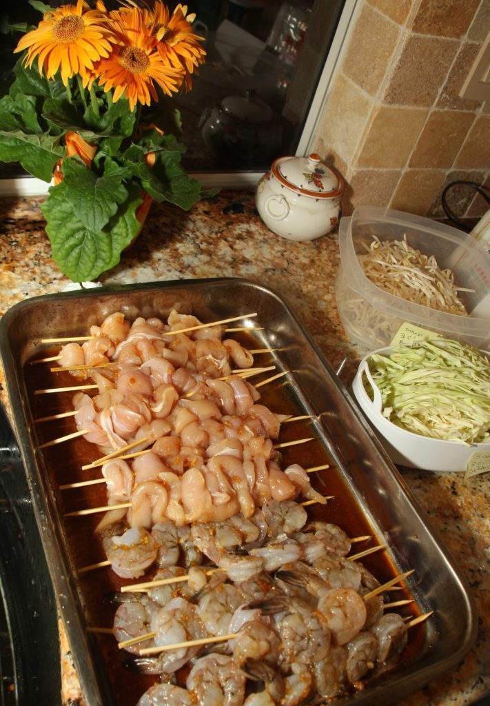 Marinate chicken and shrimp